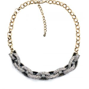 Chain Link Pave Stone Necklace