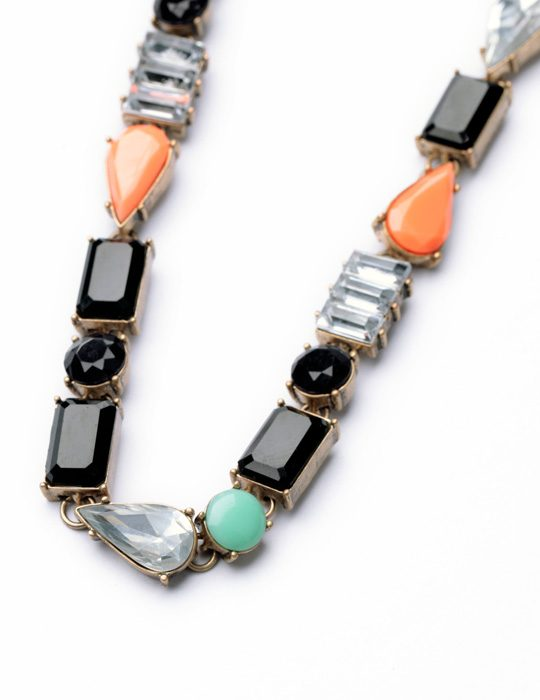 Color Stone Bib Necklace