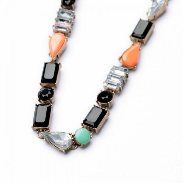 Color Stone Bib Necklace
