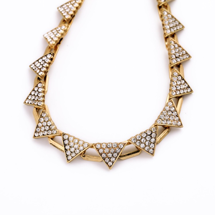 Triangle Pave Gold Necklace 2