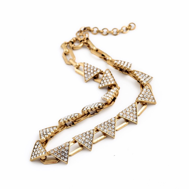 Triangle Pave Gold Necklace 3
