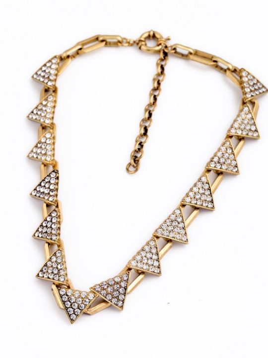 Triangle Pave Gold Necklace 4