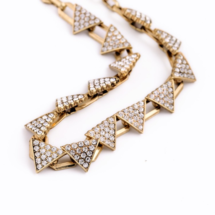 Triangle Pave Gold Necklace