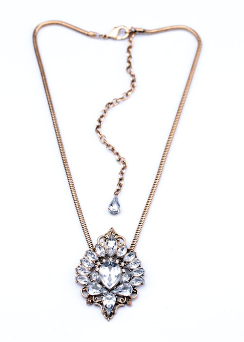 Antiqued Crystal Pendant Necklace