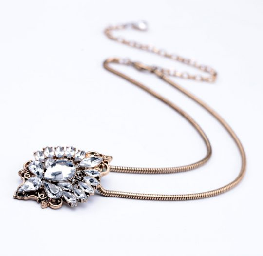 Antiqued Crystal Pendant Necklace 2