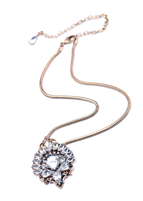 Antiqued Crystal Pendant Necklace 3