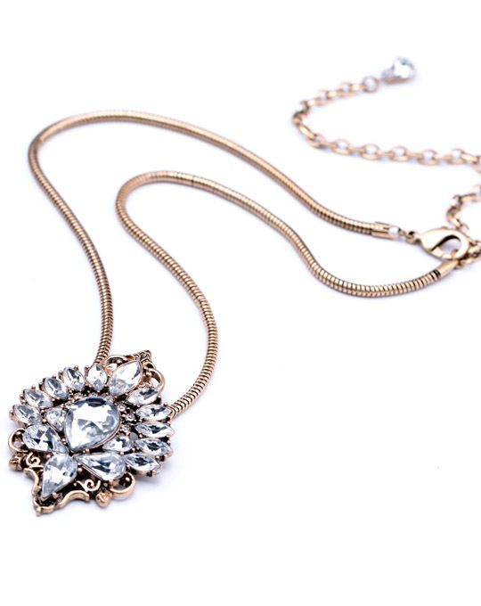 Antiqued Crystal Pendant Necklace 4