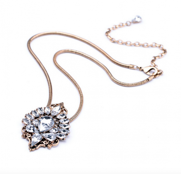 Antiqued Crystal Pendant Necklace 6