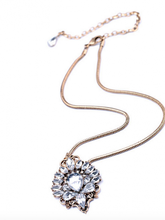 Antiqued Crystal Pendant Necklace 7