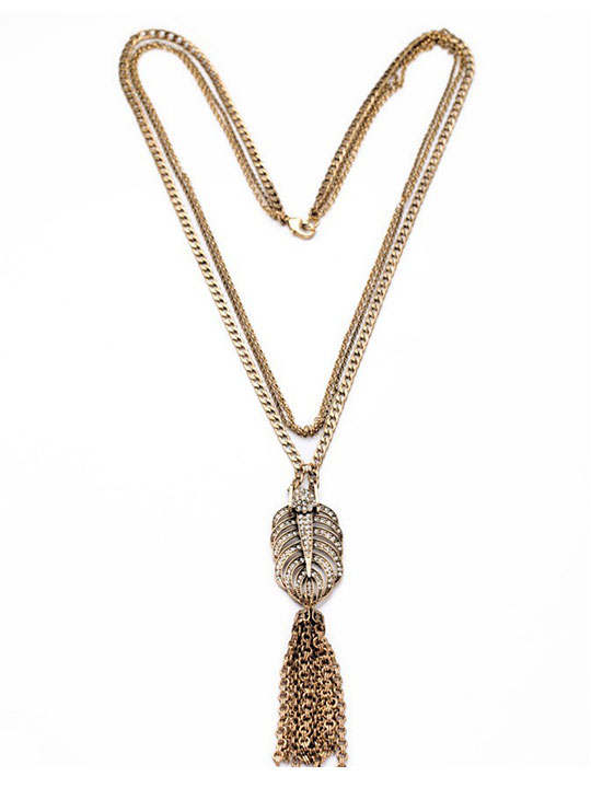Feather-Pave-Stone-Pendant-Necklace