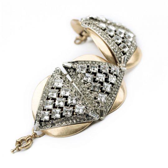 Geometric Gold Crystal Statement Bracelet 3