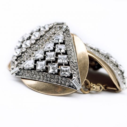 Geometric Gold Crystal Statement Bracelet 4