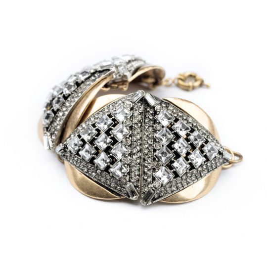 Geometric Gold Crystal Statement Bracelet 5
