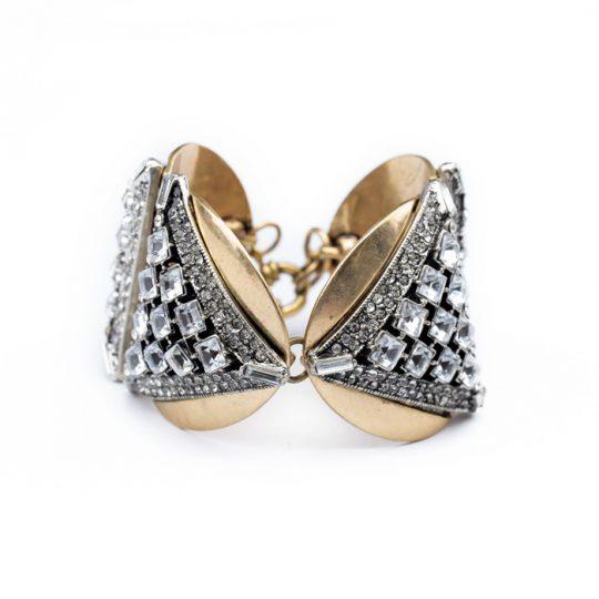 Geometric Gold Crystal Statement Bracelet 8