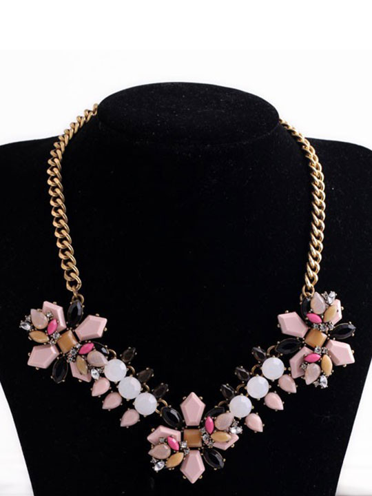 Pink-Neutral-Statement-Necklace-Jewelry