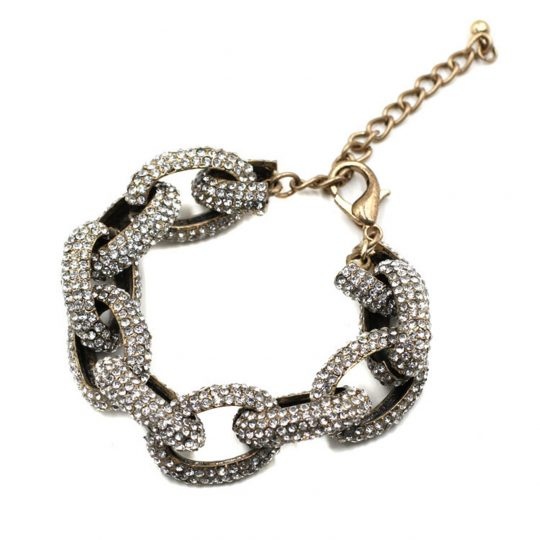 Chain Link Pave Stone Necklace 2