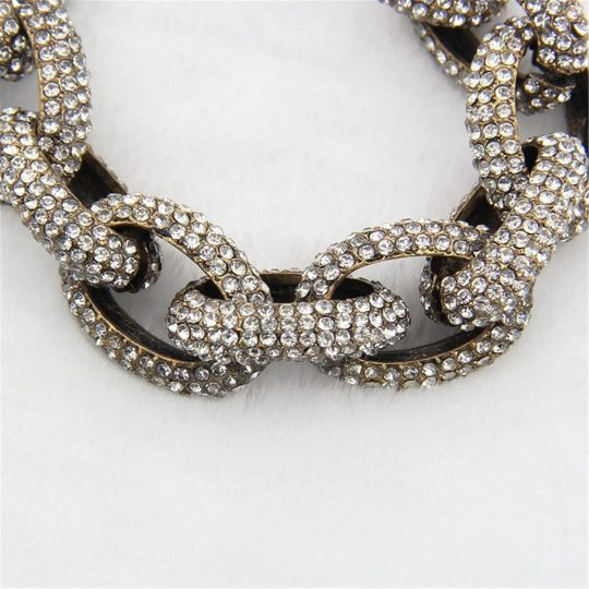 Chain Link Pave Stone Necklace 5