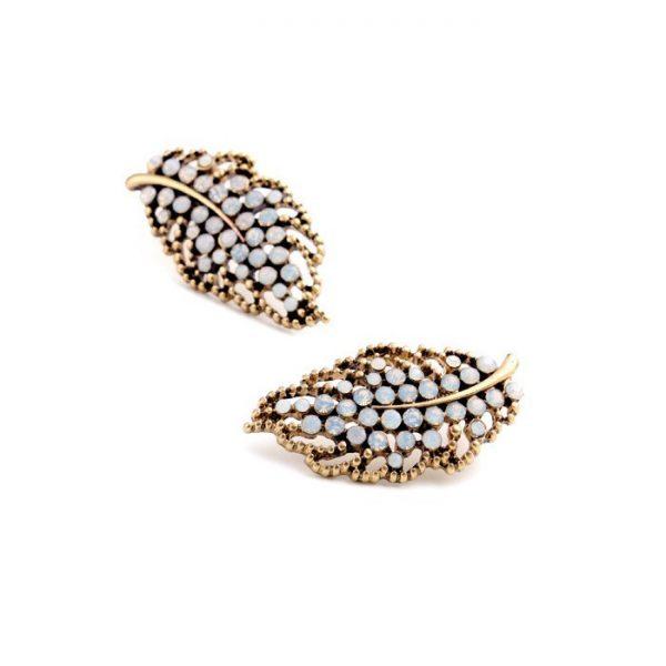 Hollow Leaf Stone Earrings 2