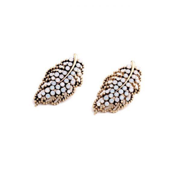 Hollow Leaf Stone Earrings 3