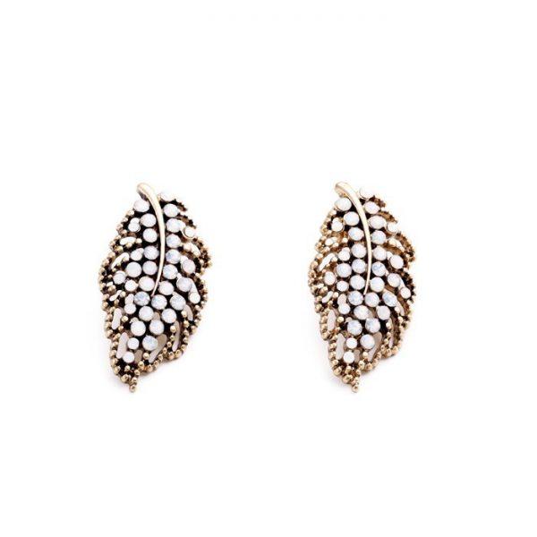 Hollow Leaf Stone Earrings