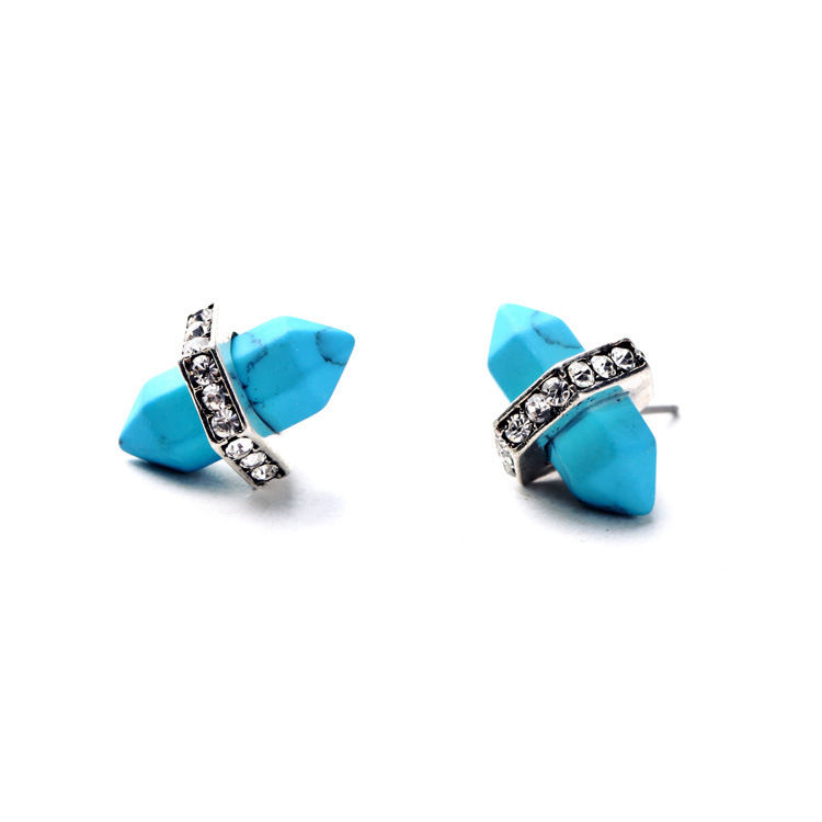 Turquoise Natural Stone Stud Earrings 4