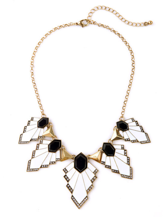 black white art deco necklace