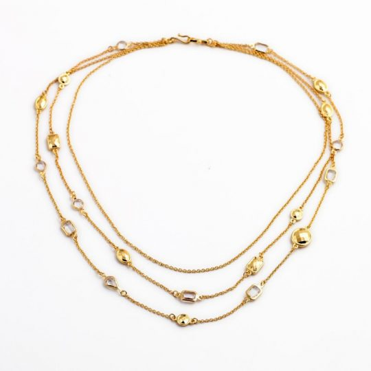 Gold Stone 3 Tier Necklace 10