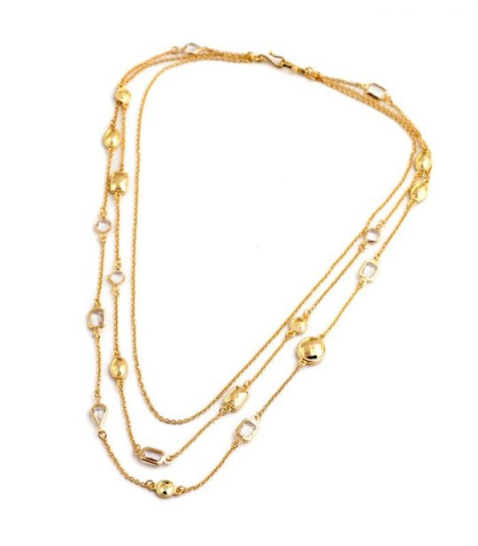 Gold Stone 3 Tier Necklace 2