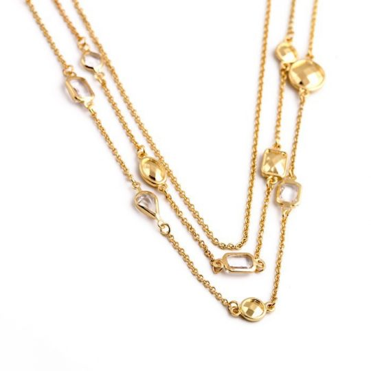 Gold Stone 3 Tier Necklace 4