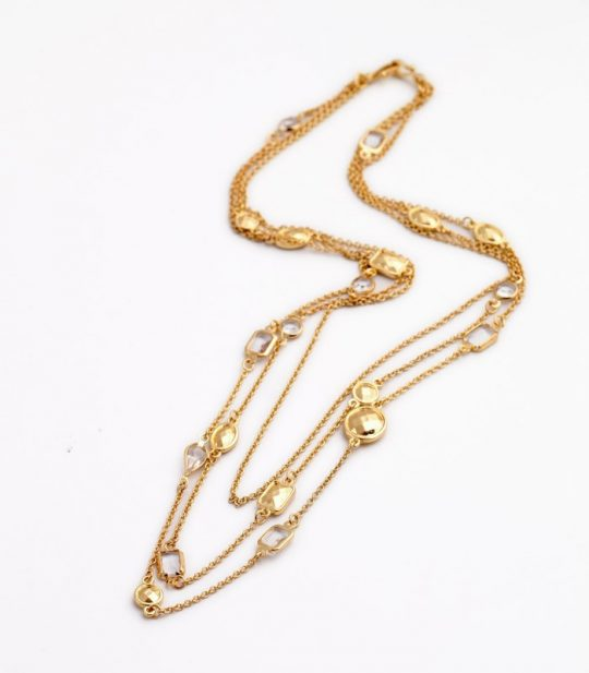 Gold Stone 3 Tier Necklace 5