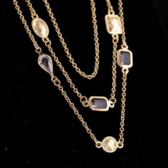 Gold Stone 3 Tier Necklace