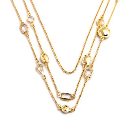 Gold Stone 3 Tier Necklace 7