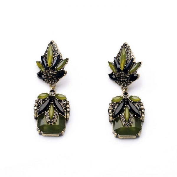 Olive Green Stone Earrings
