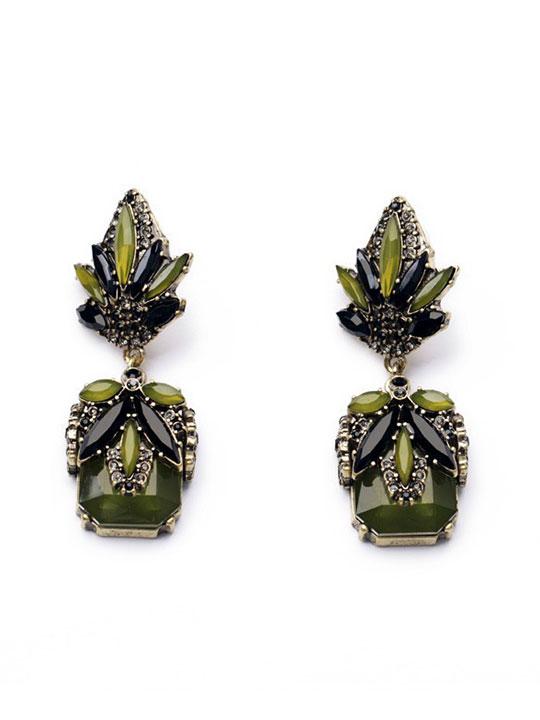 Olive Green Stone Earrings