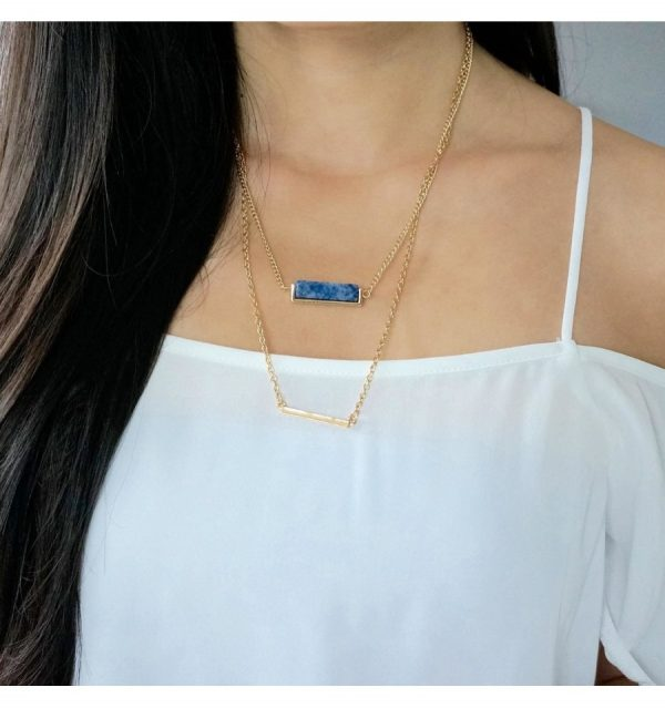 Sequence Blue Lapis stone-and-bar-layered-necklace 2