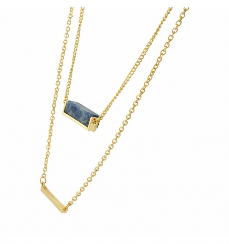 Sequence Blue Lapis stone-and-bar-layered-necklace 3