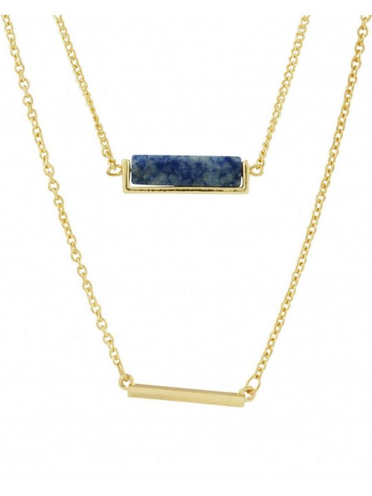 Sequence Blue Lapis stone-and-bar-layered-necklace