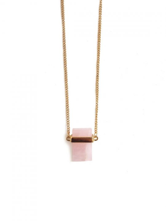 Cube Rose Quartz Pendant Necklace 1