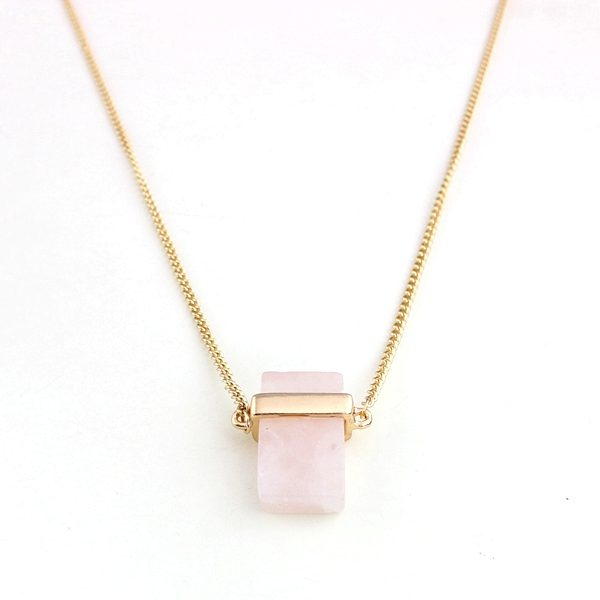 Cubed Rose Quartz Pendant Necklace 2