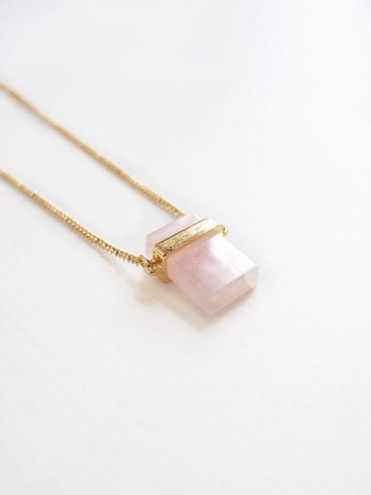 Cubed Rose Quartz Pendant Necklace 3