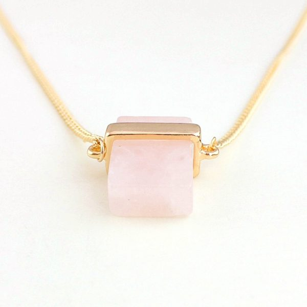 Cubed Rose Quartz Pendant Necklace 4