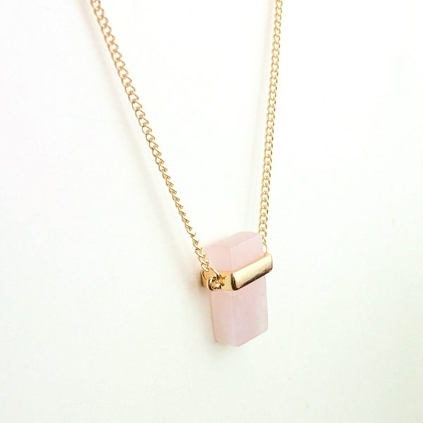 Cubed Rose Quartz Pendant Necklace 6