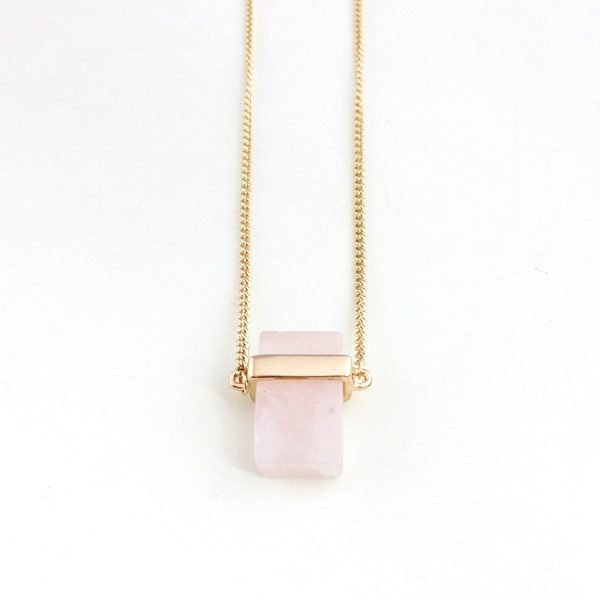 Cubed Rose Quartz Pendant Necklace