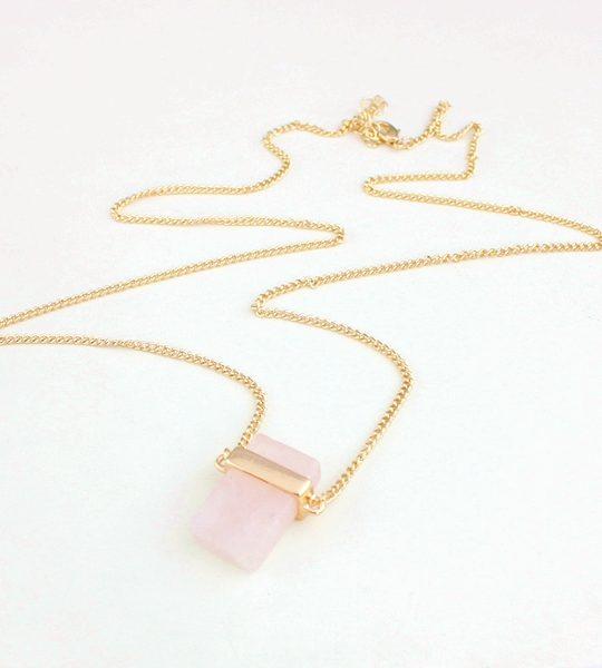Cubed Rose Quartz Pendant Necklace 7