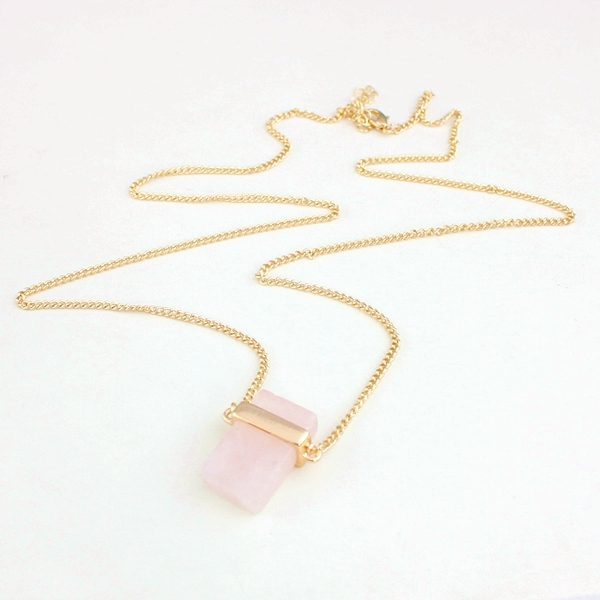 Cubed Rose Quartz Pendant Necklace 7