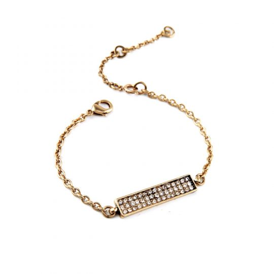Gold Bar Pave Bracelet 1