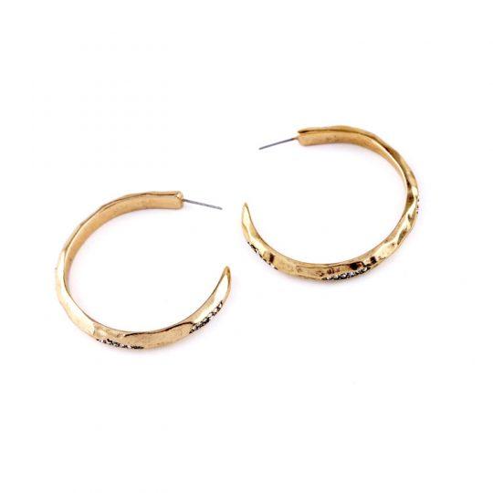 Peeking pave hoop earrings