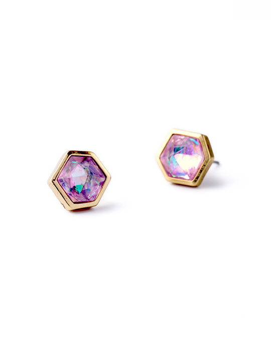 Pink Iridescent Stud Earrings