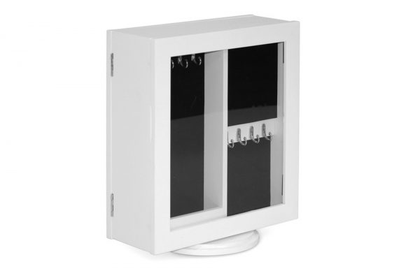 White Double Sided Jewelry Box Table Mirror