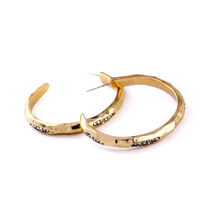 hoop gold pave stone